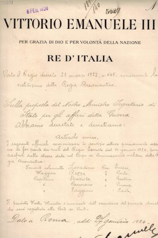 Vittorio Emanuele III...Re d'Italia... Decreto sulla proposta del Ministro Segretario di Stato per gli Affari della Guerra