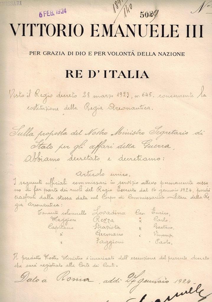 Vittorio Emanuele III...Re d Italia... Decreto sulla proposta del ... 164f0d3e8fe0