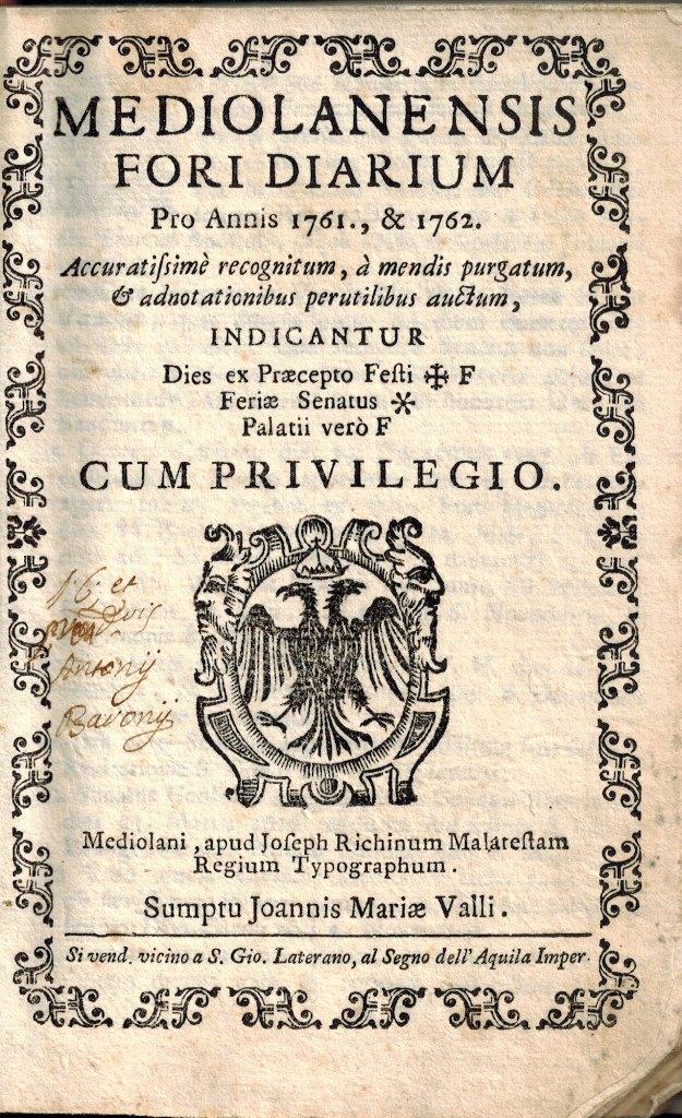 ultimi progetti diversificati amazon rivenditore di vendita Mediolanensis Fori Diarium Pro Annis 1761 & 1762 - Studio Bibliografico  Michelotti